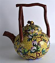 A LARGE AND EXTREMELY UNUSUAL CHINESE CLOISONNE EN