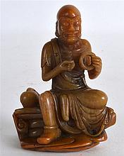 A LOVELY CHINESE CARVED SOAPSTONE FIGURE OF LUOHAN