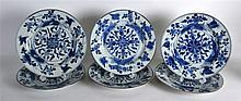 A GROUP OF SIX 18TH CENTURY CHINESE EXPORT BLUE AN