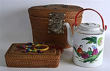 A MID 20TH CENTURY CHINESE WICKER BASKET containin