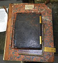 A LARGE ANTIQUE HOLY BIBLE together with a leather bound issue of the times C1877. (2)