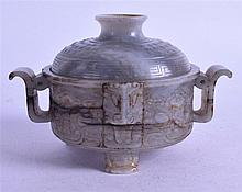 A GOOD CHINESE QING DYNASTY GREEN JADE CENSER AND COVER carved with mask heads and scrolling motifs. 11.25 cm wide.