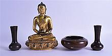 A PAIR OF CHINESE BRONZE VASES together with a gold splash censer & a bronze buddha. (4)