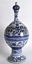 A GOOD CHINESE BLUE AND WHITE 'ISLAMIC MARKET' INCENSE BURNER AND COVER bearing Xuande marks to base, painted with stylised flowers and vines. 1Ft 1ins high.