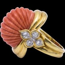 1960s Erwin Pearl Natural Coral Gold Ring