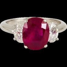 3.90 Carats Cushion Natural No Heat Ruby Diamonds Platinum Ring