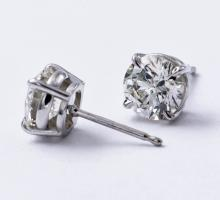Classic 3.10 Carat Brilliant Diamonds Stud Earrings