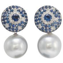 Mixes sapphire and Diamond Drop Earring