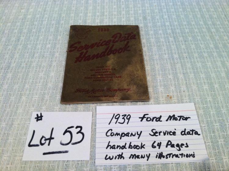Ford Motor Company 1939 Service Data Handbook