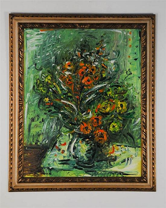 George Chemeche, 1934-; New York/Israel, Floral Still Life, Oil on Canvas, 32