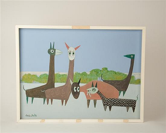 Charles W. Smith,, 1893-1987, Virginia,, A Group of Funny Animals,, an oil or acrylic on canvas,, 18