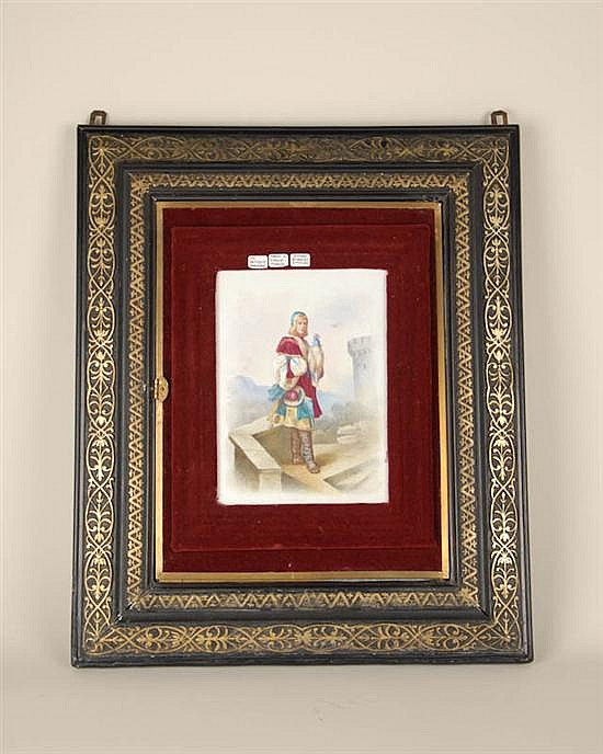 A Framed Painted Porcelain Plaque and Triptych Mirror,