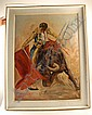 J. C. Mid-20th C, A Bullfighter in Action, oil on board,