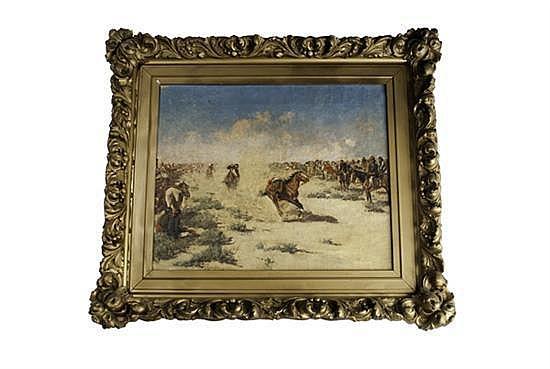 Frank Paul Sauerwein, 1871-1910, American Southwest, A Native American Horseback Game, an oil on canvas, 14