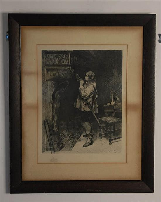 Paul Adolphe Rajon (possibly), 1843-1888, France, A Gentleman Lighting His Pipe, an etching on paper, sight image 17 1/2