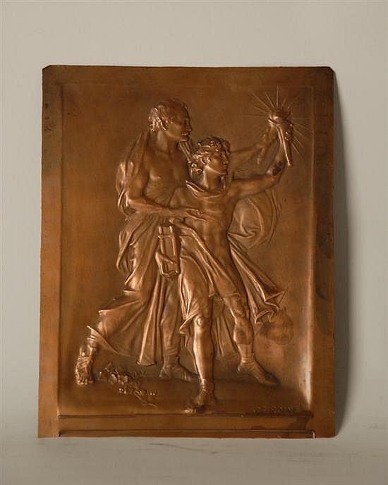 Jules Edouard Roine (1857-1916) Copper Plaque of Mature Man and Youth,