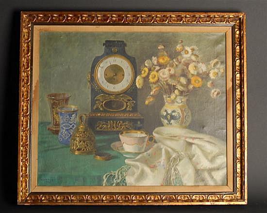Karl Viktor Mayr, 1881-1975, Austrian, Still Life with Clock, an oil on canvas,