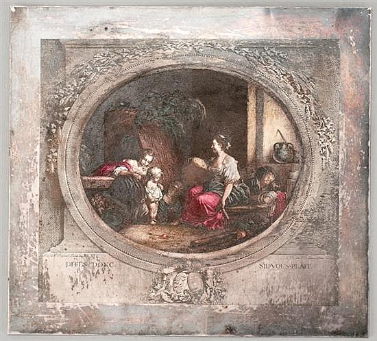 An Engraving Plate by Nicolas de Launay, 1739-1792,