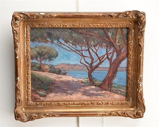 Paul Sokoloff, 1873-1968, Russian, Continental, Shoreline with Trees, an oil on board, 9 1/2