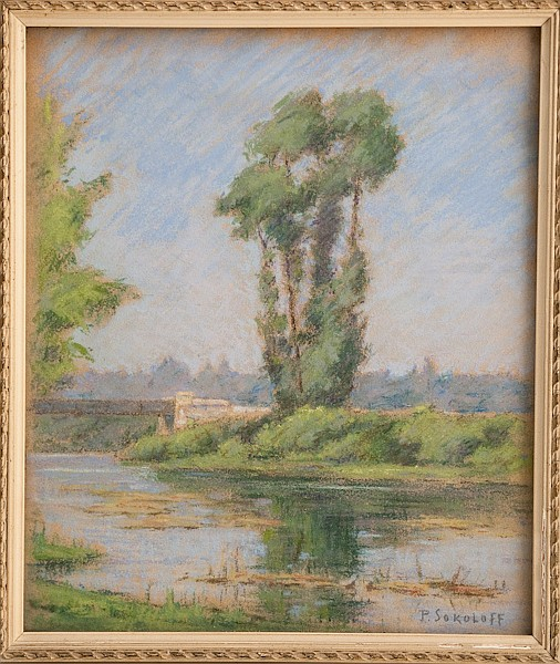 Paul Sokoloff, 1873-1968, Russian, Continental, Landscape with River, pastel on paper, sight image 10 1/4