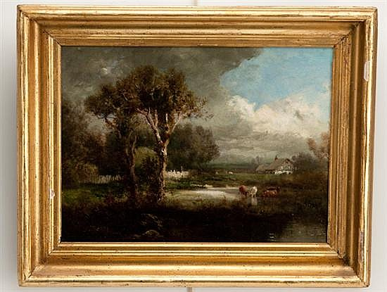 Patrick Vincent Berry, (1852-1922, New York), Landscape with Cattle in Stream, oil on canvas, 12