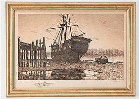 """Charles F. Mielatz, 1864-1919, """"Out of Commission"""", etching, 16"""" H, 23 1/4"""" W, framed"""