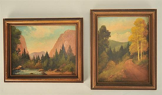 Willard J. Page, 1885-1958, American, Two Western Landscapes, oils on board, 7