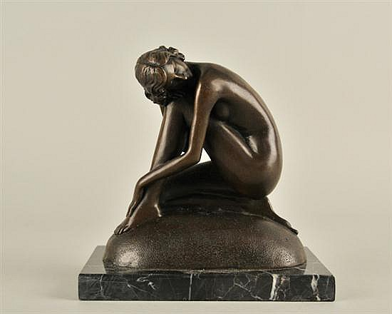 Max Milo, b. 1938, A Kneeling Female Nude, patinated cast bronze, figure and base 6 3/4