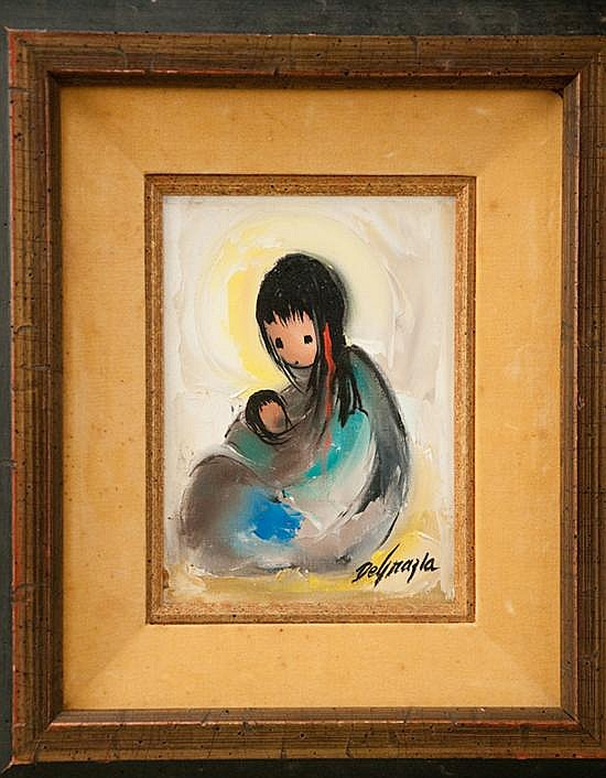 Ted (Ettore) DeGrazia, 1909-1982, Arizona, Mother and Child, an impasto oil on canvas, 7