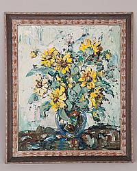 "Enrique Koscaya, Russian, (1901-1970), ""Black-Eyed Susans"", oil on canvas, Sight image 23 1/2"" H x 19 1/2"" W, framed."