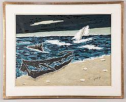 "Louis Dumont (Percenel), (1911-1977), ""Seascape"", oil on canvas, Sight image 23"" H x 31"" W, framed."