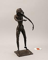 """Lewis Iselin, (1913-1990), """"Woman Looking Back"""", bronze, 16"""" H."""