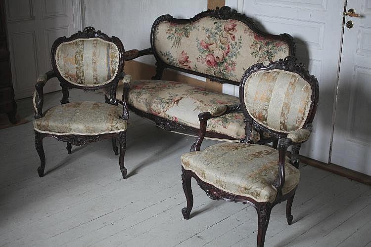 Canap et deux fauteuils structure en bois noirci garnitur for Canape et deux fauteuils