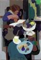 *Clement-Serveau (1886-1972) Femme lisant dans son