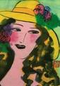 *Walasse Ting (1929-2010) Portrait de Jeune Fille