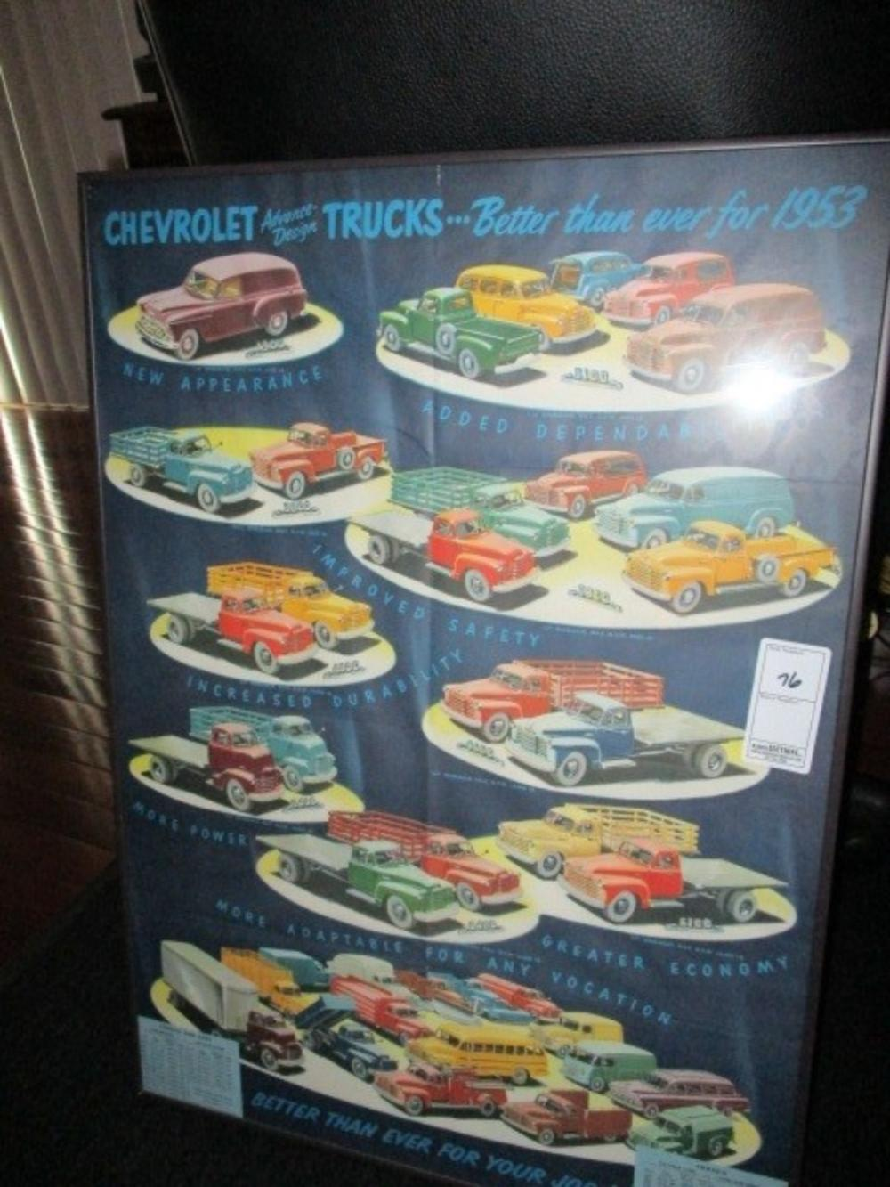 Chevrolet Truck Poster 1953 Original Framed