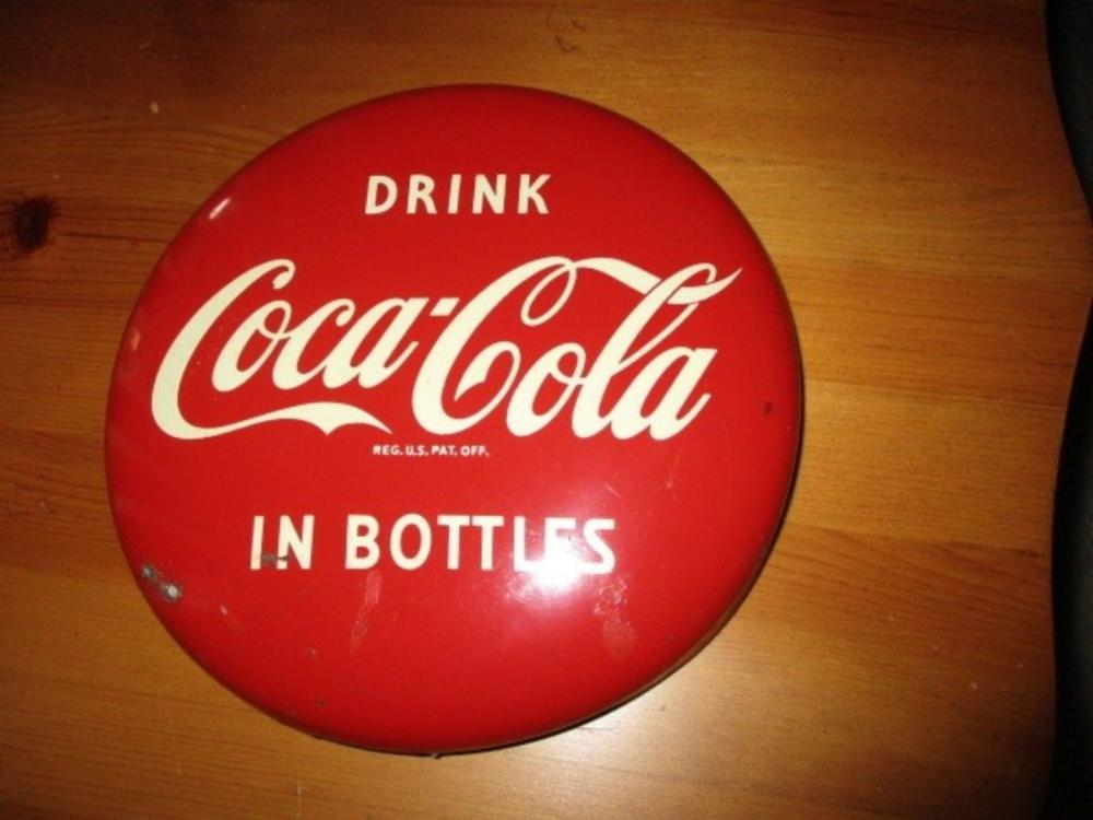 Coca Cola Button Sign 8""