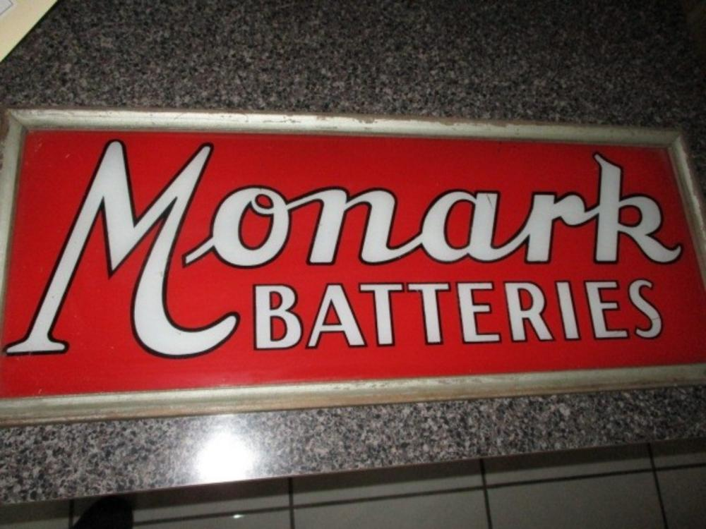 "Monarch Batteries Sign Reversed Glass Original Frame 1930s 25""x10"""