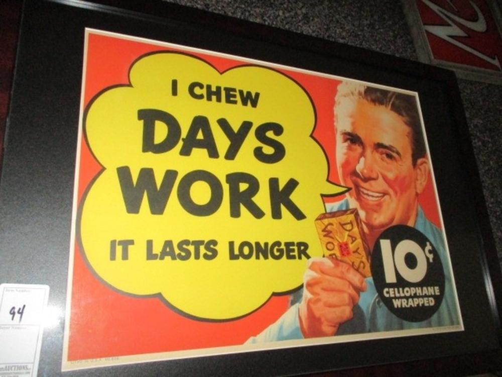 Days Work Chewing Tobacco Original Poster 1940s RJR