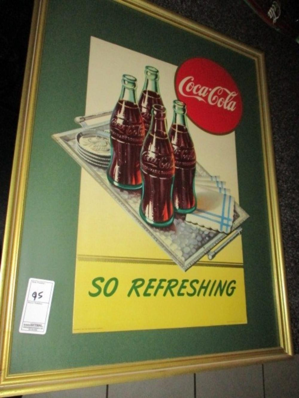 Coca Cola Diecut Cardboard 1947 Framed and Matted