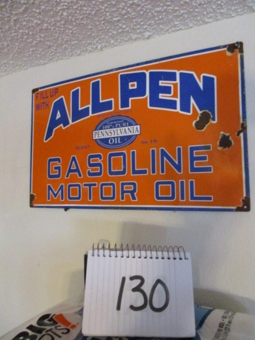 "All Pen Gasoline Motor Oil Sign 20""x12"" Porcelain"