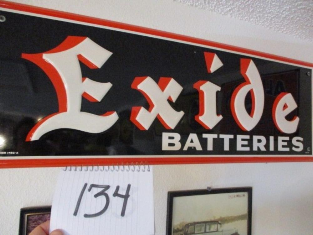 "Exide Batteries Tin 40""x14"" New Old Stock 1956"