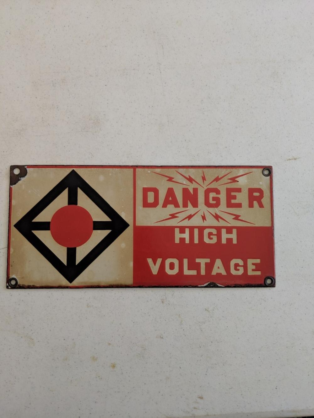 "Danger High Voltage Porcelain Sign 13""x6"""