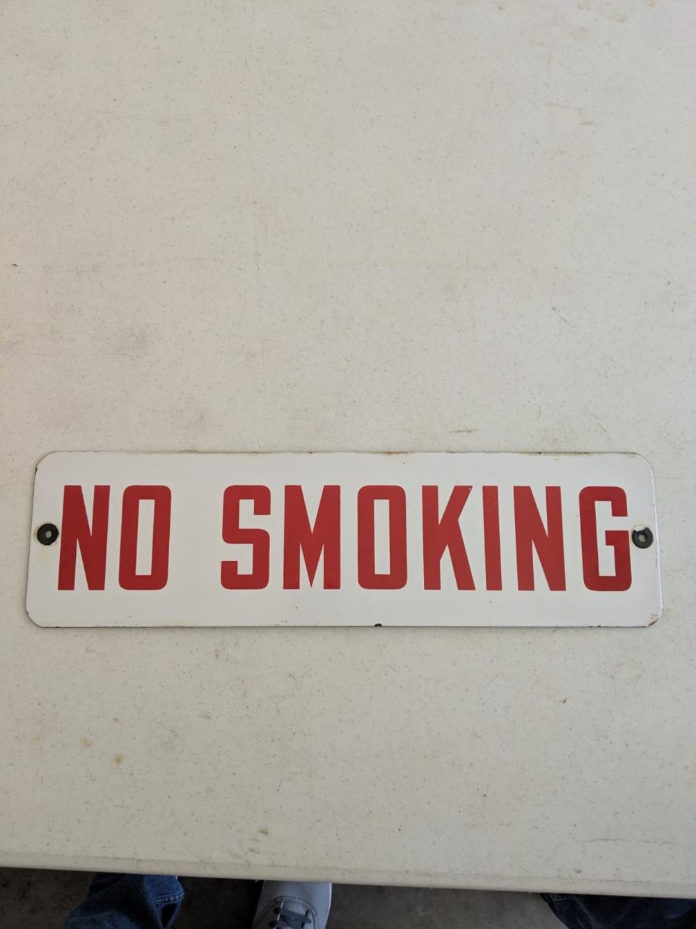"No Smoking Porcelain Sign 18""x6"""