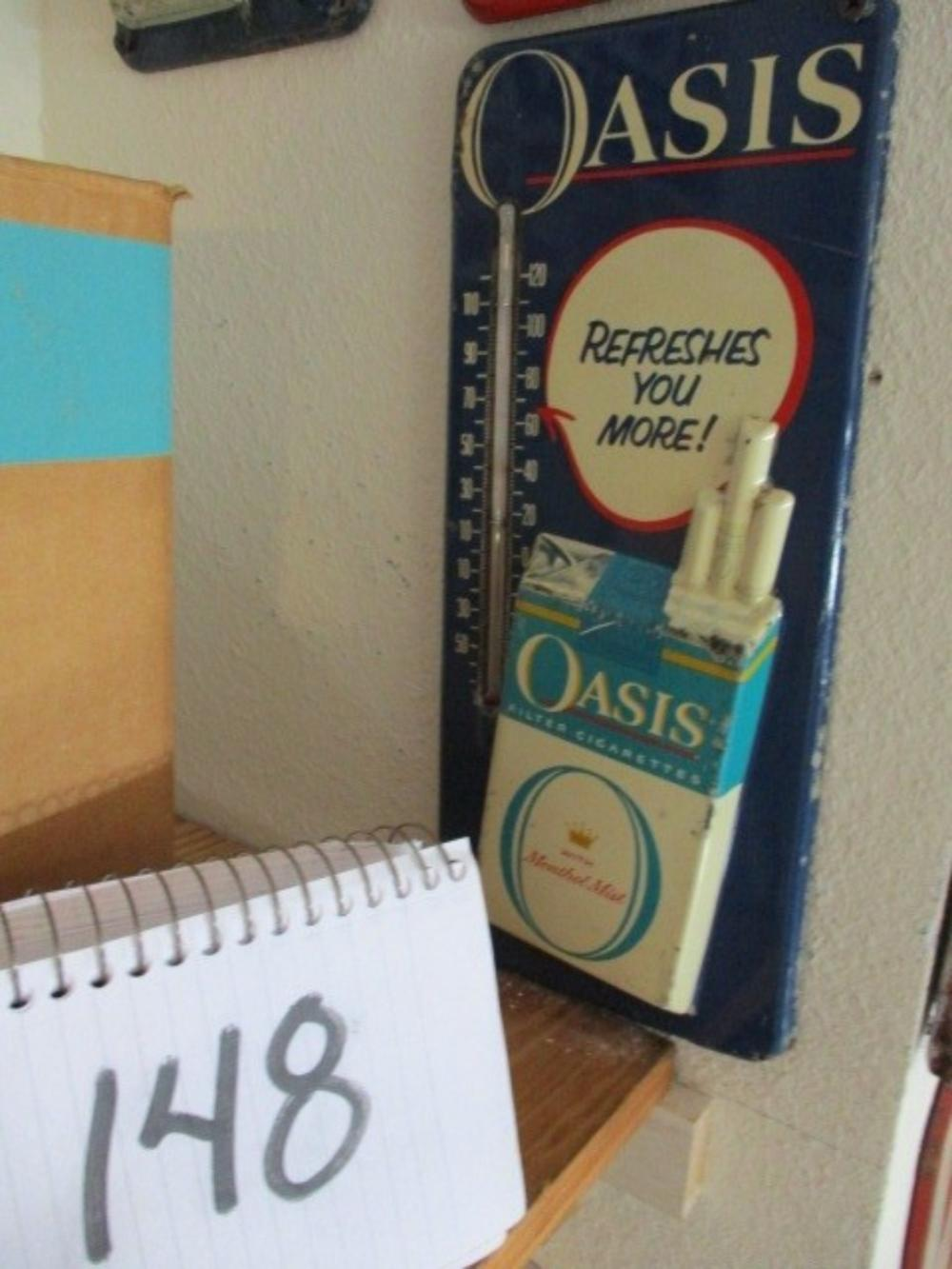 "Oasis Cigarette Thermometer Refreshes You More Embossed Cigarette Box 13""x6"""