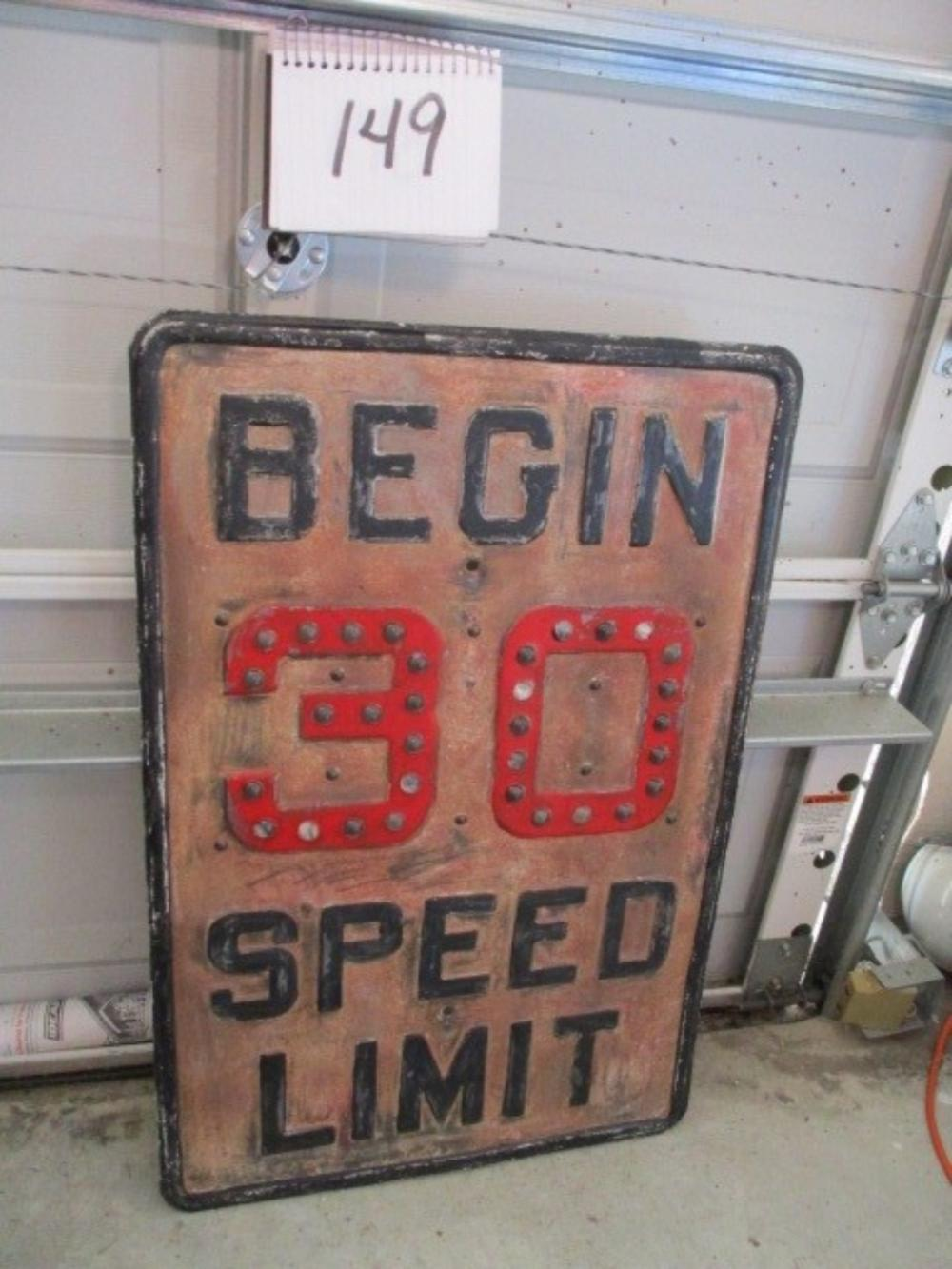 "Begin 30 Speed Limit w/ Reflectors Cast Iron 30""x20"" Sign"