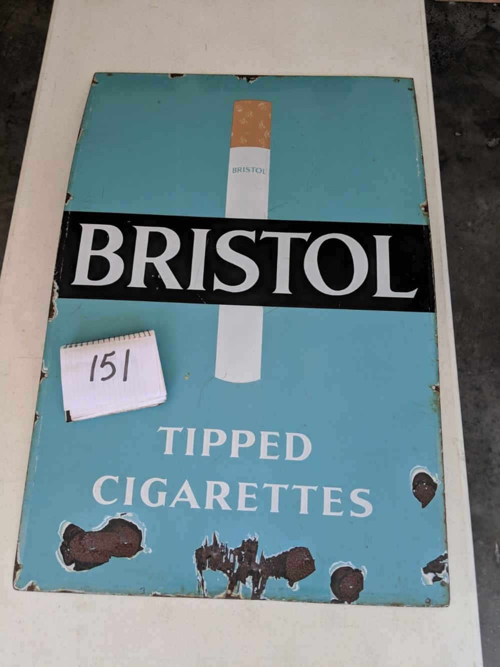 "Bristol Cigarette Porcelain Sign 36""x24"""