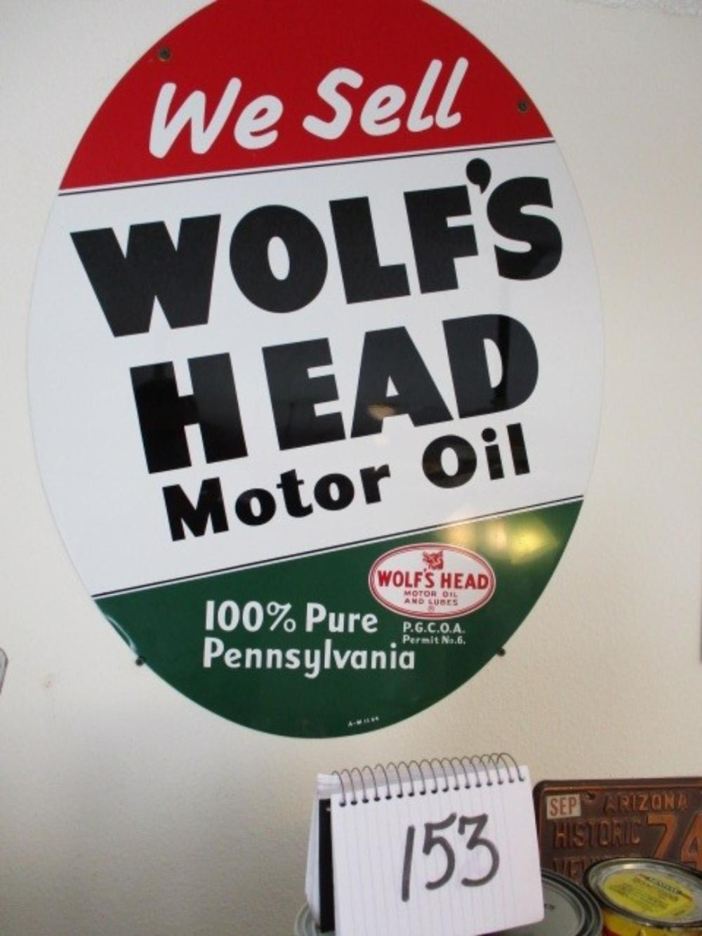 "We Sell Wolf's Head Motor Oil Oval Sign 30""x23"" 1964"
