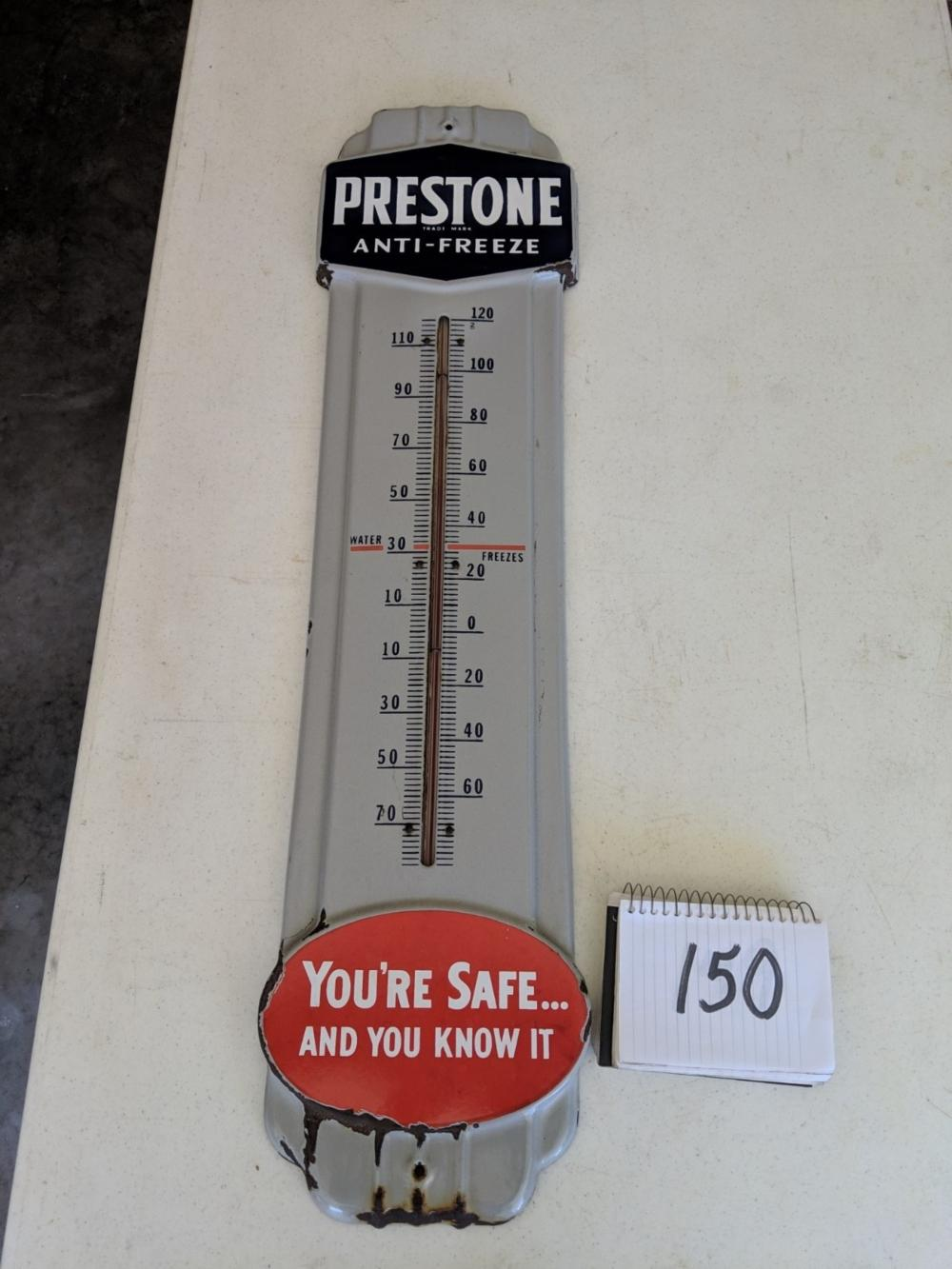 Prestone Anti-Freeze Thermometer Porcelain Sign 36""