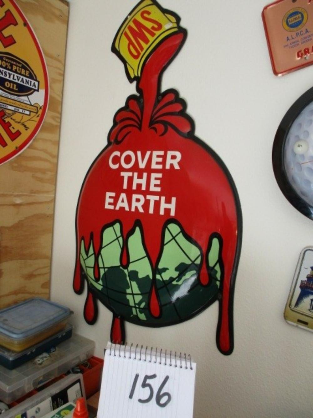 "Sherwin Williams Cover The Earth Metal Sign Embossed Diecut 36""x19"""